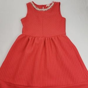 Monteau Girls Coral Eyelet Jewel Neckline Dress